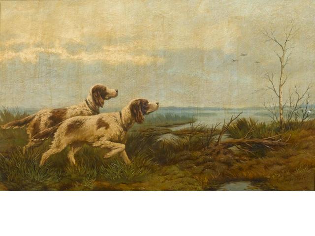 Efim  Tikhmenev (Russian, 1869-1934) English setters on point 28.4 x 46 cm. (11 1/4 x 18 in.)
