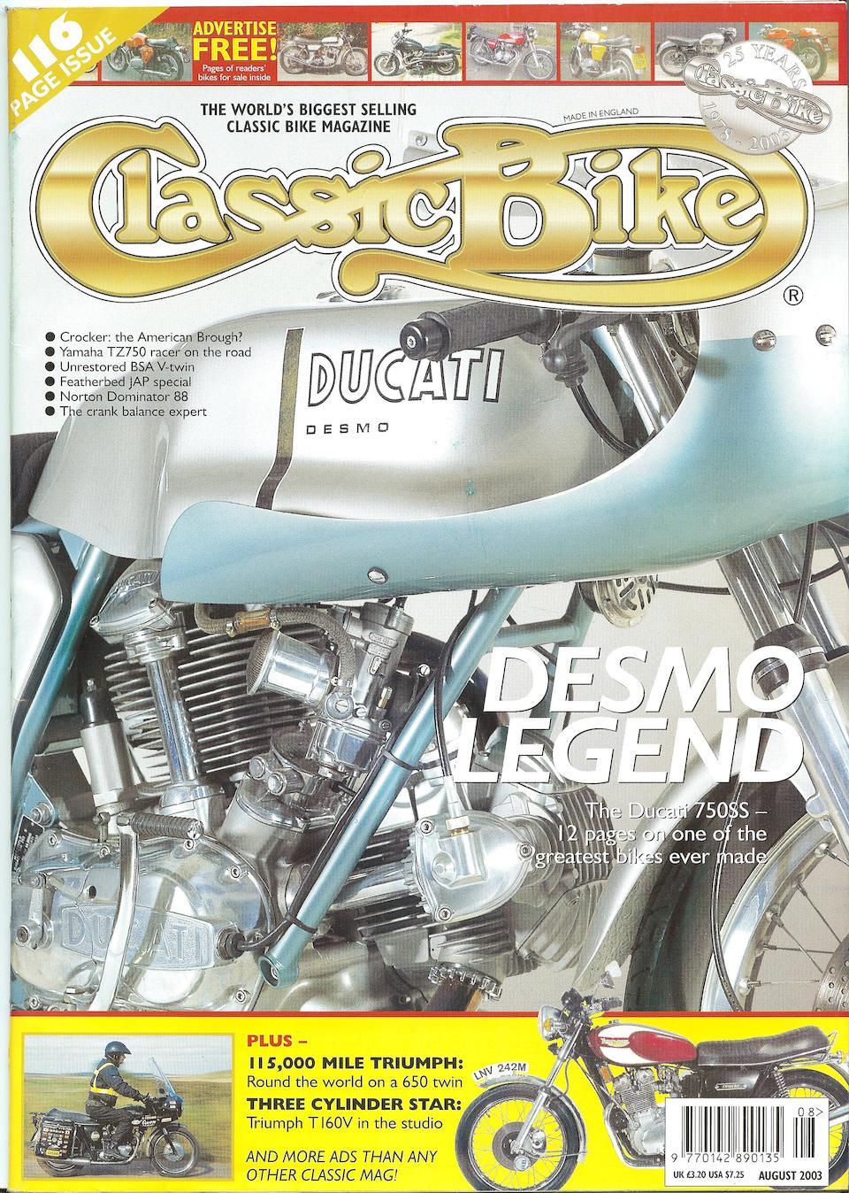 1974 Ducati 750SS Frame no. DM750SS 075148 Engine no. 075155