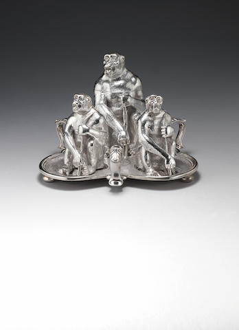 A Victorian  silver novelty three-piece condiment set, by Dee Bros, London 1861, on a later Britanni