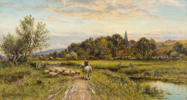 Alfred Augustus Glendening (British, 1840-1921), A.A. Glendenning Mounted shepherd and flock returning home 12 x 22 1/8in ( 30.5 x 56cm )