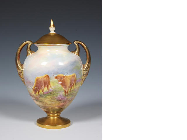 A Royal Worcester vase and cover by Edward Townsend