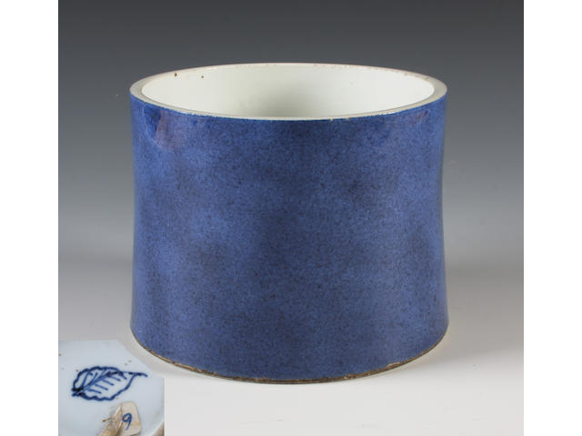 A Chinese powder blue brush pot