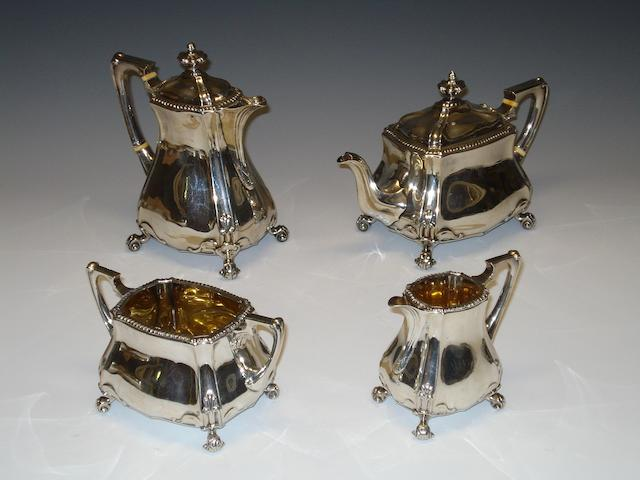 A late Victorian silver four piece tea service by Edward Barnard & Sons Ltd Sheffield 1897,