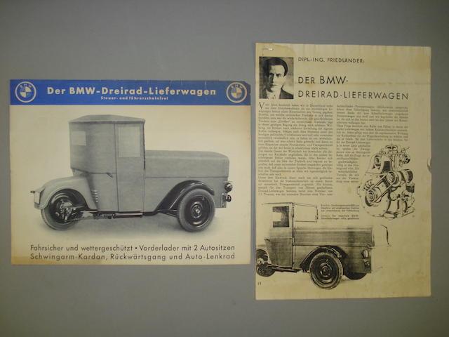 A 1932 BMW 3 Wheel Commercial brochure,
