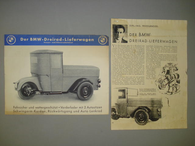 A 1932 BMW 3 Wheel Commercial brochure,
