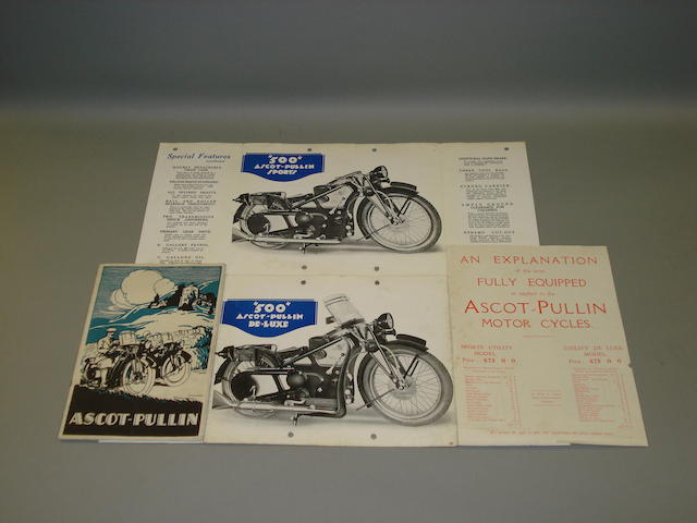 Two Ascot-Pullin sales brochures dating from the 1930s,