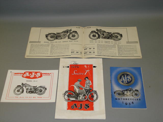 AJS sales brochures dating from the 1930s,