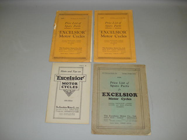 Excelsior - Three price lists of spare parts,