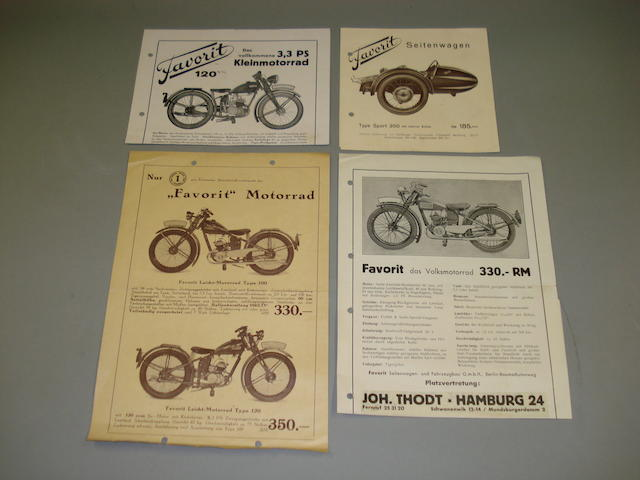Favorit sales leaflets dating from the 1930s,