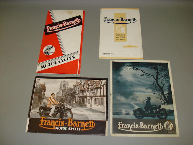 Francis Barnett - various sales brochures dating from the 1930s.