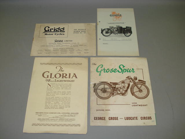 Various motorcycle sales brochures dating from the 1920s and '30s,