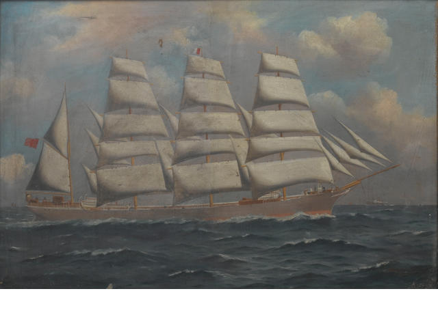 Woolston & Barratt (Australian, circa 1909) The Lucipara in full sail  61 x 91.4cm. (24 x 36in.)