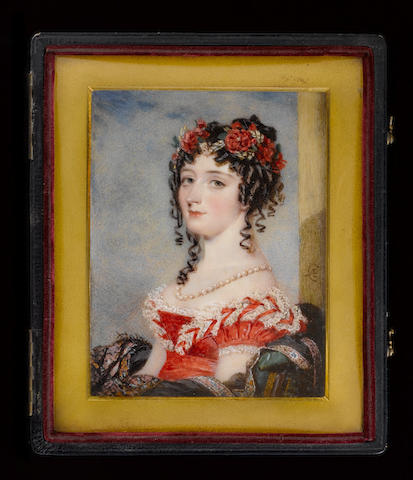 (n/a) Alfred Edward Chalon, R.A. (British, 1780-1860) Marguerite Power, Countess of Blessington (1789-1849), wearing red dress, the bodice and short puffed sleeves lavishly trimmed with white lace, pearl necklace, her curling brown hair worn long and dressed with a wreath of poppies, corn and green leaves, seated, the back of her chair draped with a black shawl with an embroidered floral border