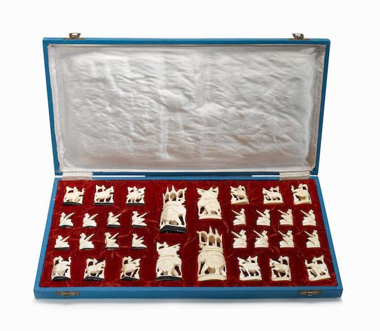 An Indian ivory figural chess set, Rajhasthan, circa 1950,