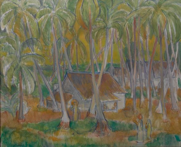 Theo Meier (Swiss, 1908-1982) Kampong Malaiu, a Balinese village among palm trees
