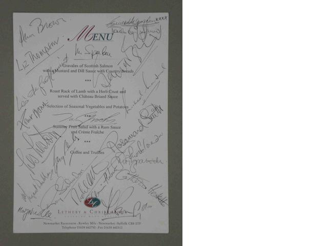 A signed Club International de Anciens Pilotes de Grand Prix F1 dinner menu, hosted by Lord Hesketh at Towcester Racecourse 1998,