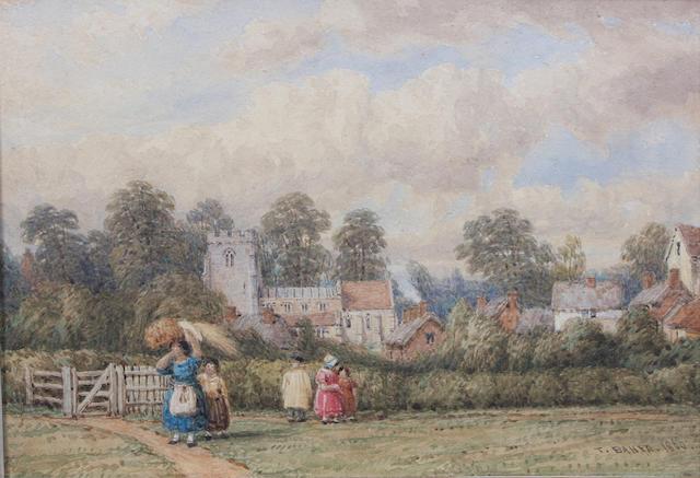 Thomas Baker of Leamington (British, 1809-1869) Figures before a village 13.5 x 18.5cm.