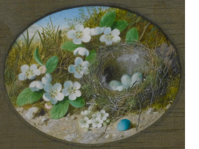 (n/a) William Cruickshank (British, 1848-1922) A pair of still lifes: one of a bird's nest surrounded by white flowers, a blue egg in the foreground; one of a dead bird lying beside a bird's nest surrounded by white flowers (the latter cracked)