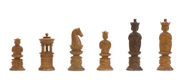 A collection of seven figural pearwood chessmen, Southern Germany, 19th century,