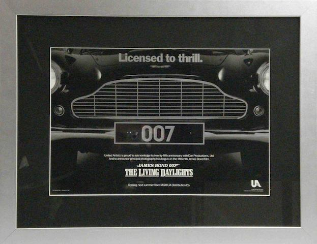 'The Living Daylights - License to Thrill' a rare Aston Martin 007 James Bond advance issue film poster,