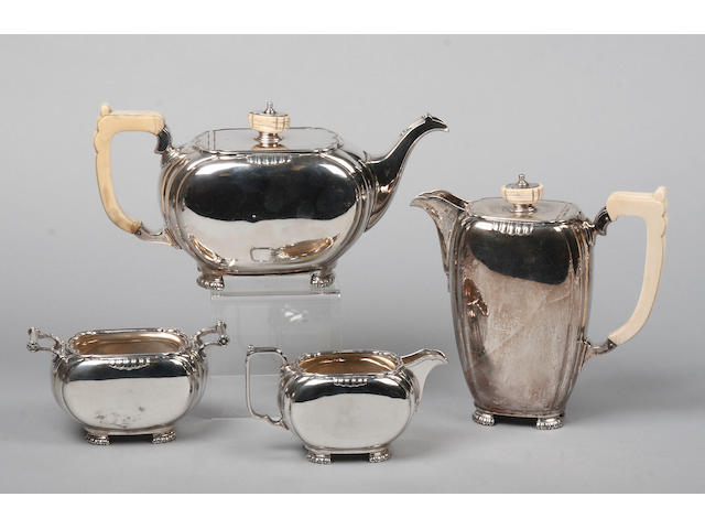 A Edward VII silver four piece teaset Mapin and Webb Sheffield, 1936