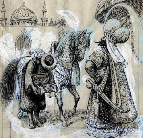 ORIGINAL ARTWORK PAPÉ (FRANK C.) A collection of approximately 138 original pen and ink illustration