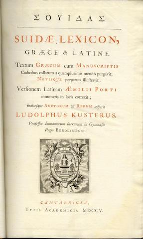 SUIDAS Suidæ lexicon, græce & latine, 3 vol.