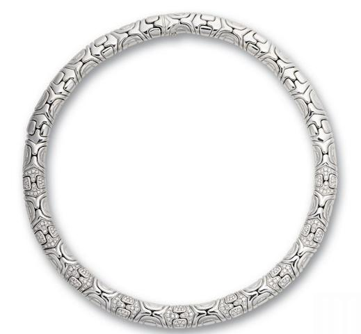 A diamond collar necklace,  by Bulgari