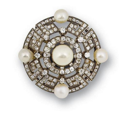 A late 19th century pearl and diamond brooch, circa 1880