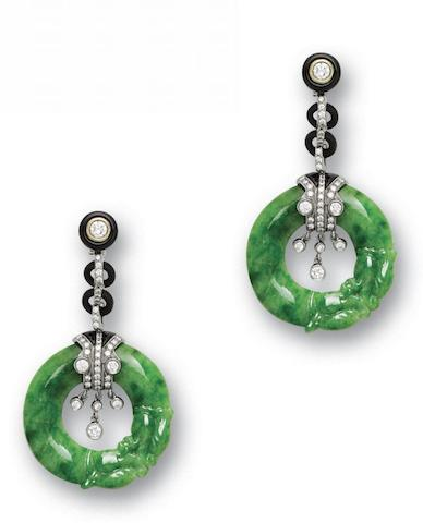 A pair of jadeite, onyx and diamond earrings