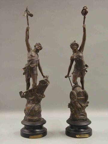 A pair of desk figures 'L'Automobile & L'Aviation', after Ferrand, French, circa 1909,