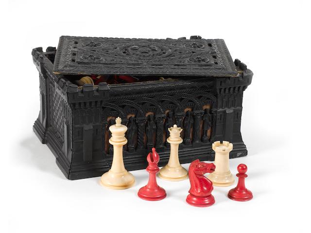 A Staunton ivory chess set, Jaques, 19th century,
