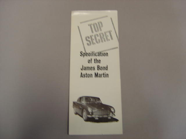 An Aston Martin 'Top Secret' James Bond DB5 specification leaflet,