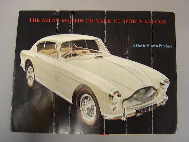 An Aston Martin DB Mark III Sports Saloon sales brochure,