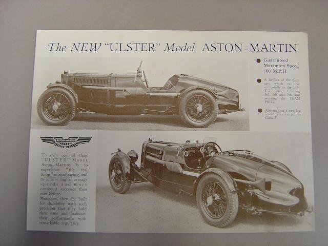 An Aston Martin New Ulster model specification brochure,