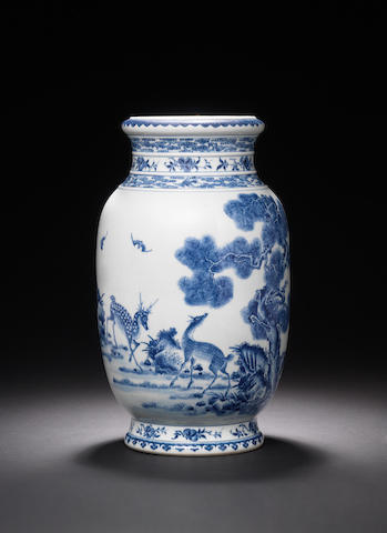 A rare blue and white 'deer' lantern vase Qianlong