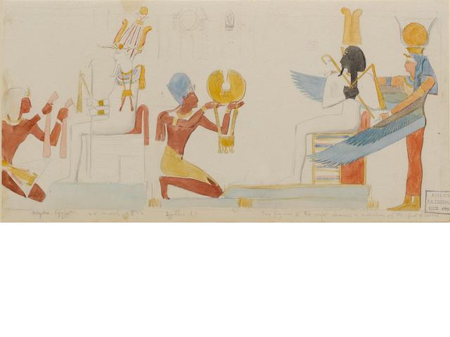 Frederick Arthur Bridgman (American, 1847-1928) A study of a relief representing Seti I making ritua