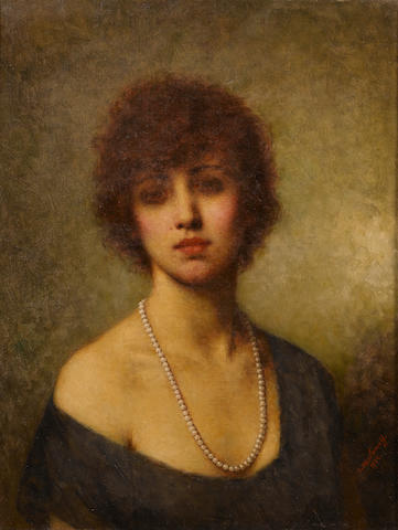 Alexei Alexeevich Harlamoff (Russian, 1840-1925) Portrait of a young lady in pearls