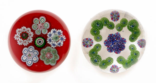 Two Baccarat patterned millefiori paperweights circa 1850