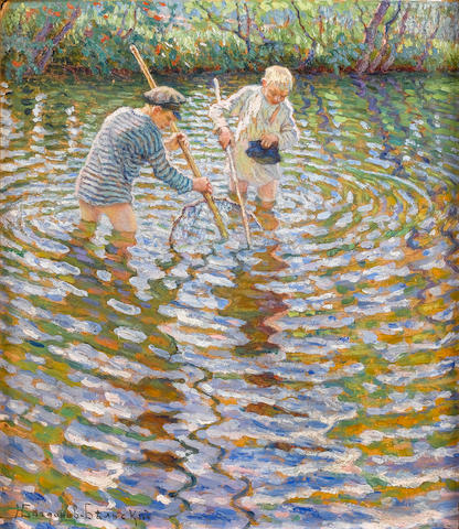 Nikolai Petrovich Bogdanov-Bel'sky (Russian, 1868-1945) Young boys fishing for minnows