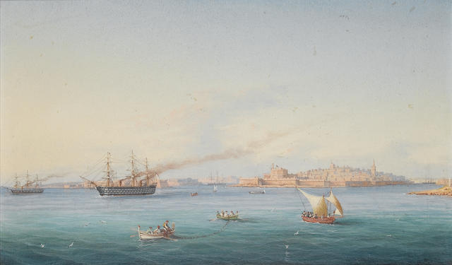 Girolamo Gianni (Italian, 1837-1896) H.M.S. Victoria amongst native craft off Fort St. Elmo, Vallett