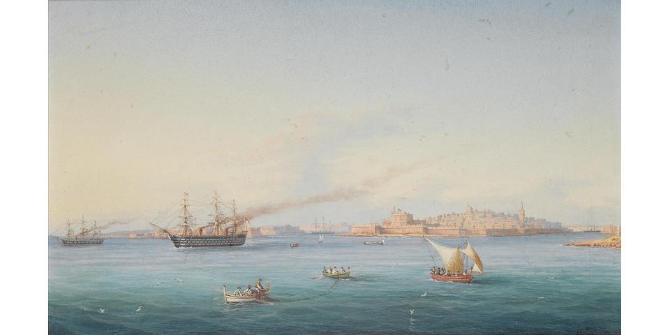 Girolamo Gianni (Italian, 1837-1896) H.M.S. Victoria amongst native craft off Fort St. Elmo, Valletta, Malta