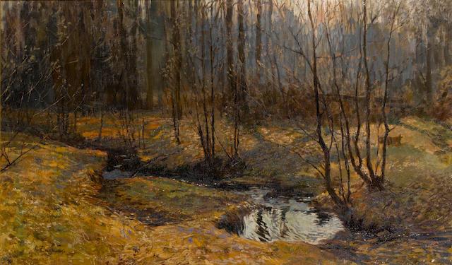 Stanislav Yulianovich Zhukovsky (Polish, 1871-1944) Woodland stream