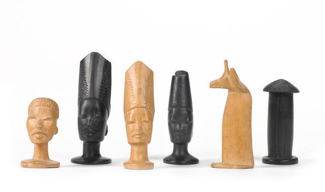 """A tribal """"bust"""" chess set, the Makondi people, Kenya,"""