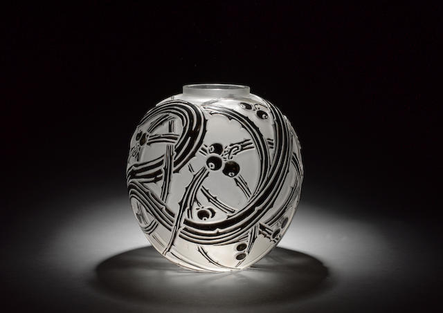 René Lalique 'Baies' a Frosted and Enamelled Glass Vase, design 1924