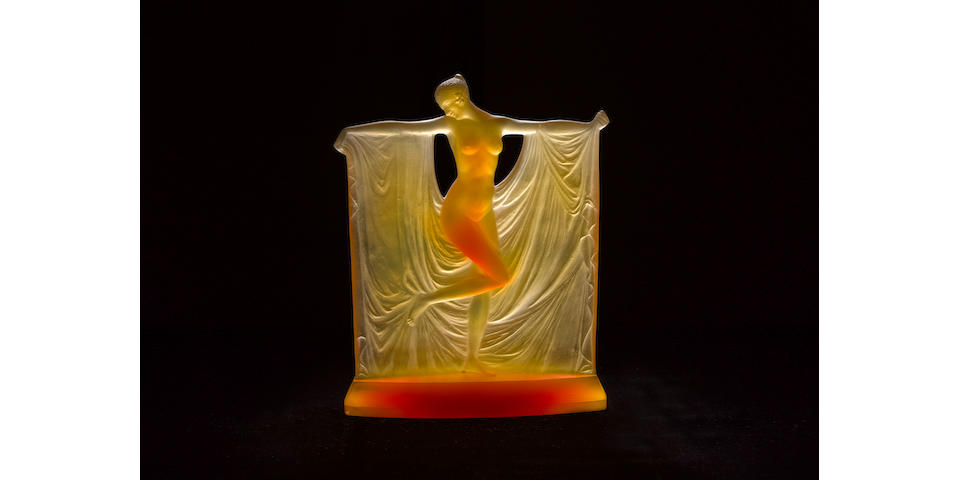 René Lalique  'Thaïs' a Rare Amber Glass Figure, design 1925