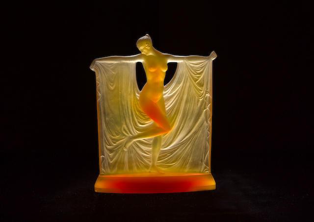 René Lalique 'Suzanne' a Rare Amber Glass Figure, design 1925