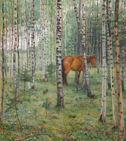 Nikolai Petrovich Bogdanov-Bel'sky (Russian, 1868-1945) Horse among the birch trees