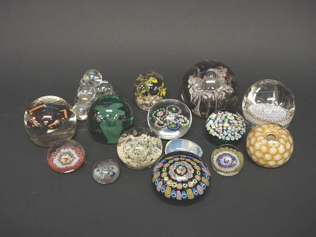 A collection of paperweights