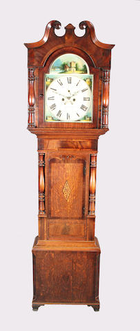 A large early Victorian oak, mahogany, rosewood crossbanded and inlaid longcase clock